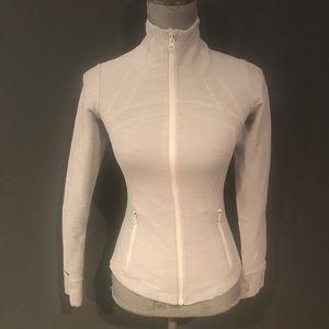 Lululemon Define Jacket White Slub Denim Sz 4